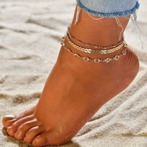 3 Piece Gold Anklet Multi-Chain